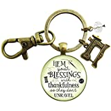 Seamstress Keychain Hem Your Blessings Thankful Grateful Womens Pendant Vintage Inspired Sewing Jewelry Gift