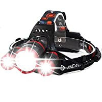 MUTANG T6 Super Bright Extra Strong Long-Range Three-Head LED Head Torch Rechargeable Waterproof Focus Headlight for Camping Running Walking Cycling Outdoors Light