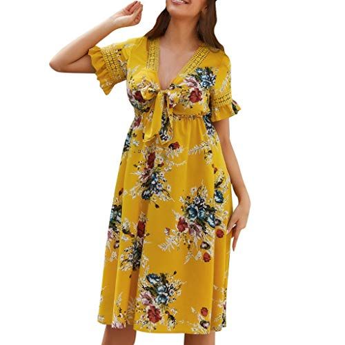 EDTO Women's 2019 Summer Short Sleeve V-Neck High Waist Floral Print Mini Boho Printed Knee Length Dress Yellow (Iron On Knee Patches For Snow Pants)