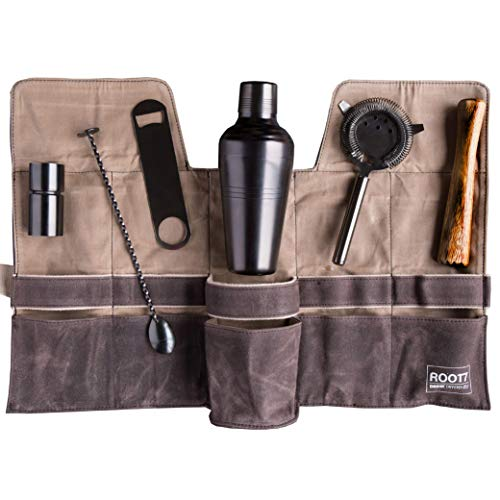 ium Coated Professional Bartender Kit/Mixology Set, Home or Workplace Cocktail Shaker Set, 19oz Shaker, Bar Blade, Jigger, Wood Muddler, Strainer, Spoon and Wax Canvas Bag by Root7 ()
