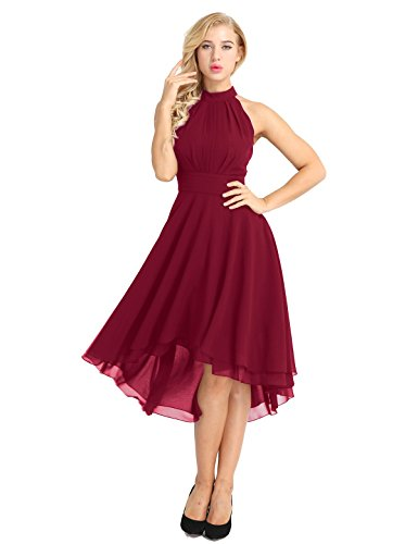 FEESHOW Women Sleeveless Halter Chiffon Asymmetrical High Low Homecoming Party Bridesmaid Dress Wine Red 10