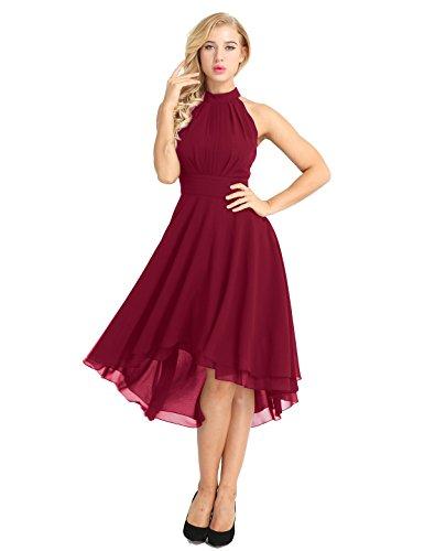 (FEESHOW Women Sleeveless Halter Chiffon Asymmetrical High Low Homecoming Party Bridesmaid Dress Wine Red)