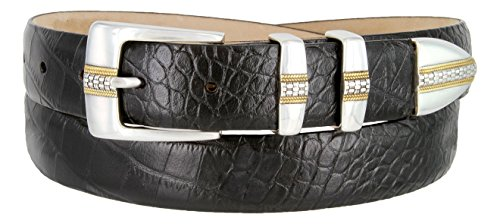 Milan Italian Calfskin Leather Designer Dress and Golf Belts for Men (Alligator Black, (Alligator Skin Belt)