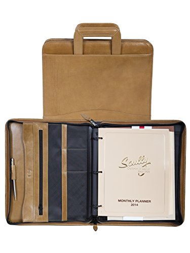 Scully Leather 3 ring zip binder, 96Z-06, ALOE, 26 by Scully