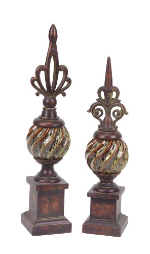 Decorative Finials (Melrose International Set of 2 Brown Decorative Finial Polyresin with Ceramic Center  20-inch High and  23-inch High)