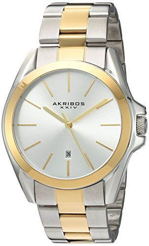 Akribos XXIV Unisex Two-Tone Case on Stainless Steel Two-Tone Bracelet with Silver Dial and Gold Tone Hands Watch AK948TTG