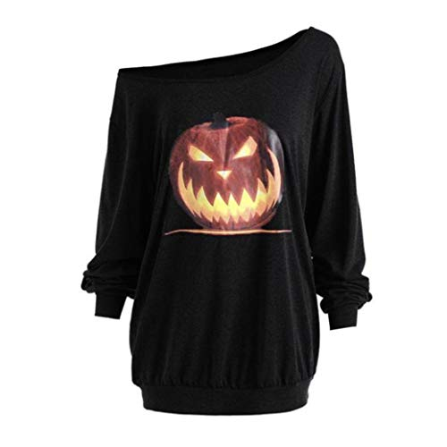 iYBUIA 2018 Women Plus Size Long Sleeve V-Neck Halloween Angry Pumpkin Skew Neck Tee Blouse Tops(Black,L) ()