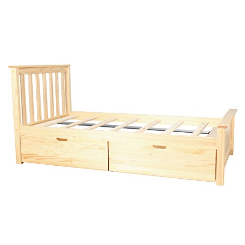 Max & Lily Solid Wood Twin-Size Bed with Under Bed Storage Drawers, Natural - Natural Wood Twin Bed