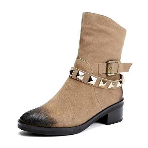 Buckles Suede Khaki Low Metal Women's with and Allhqfashion Platform Boots Heels Frosted BC7W558wq