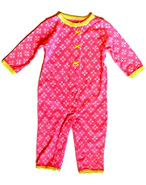 Baby Girls' Cotton Snap-Up Footless Sleep & Play (Pink)