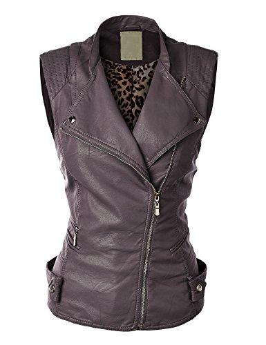 LL Womens Faux Leather Moto Vest L COFFEE