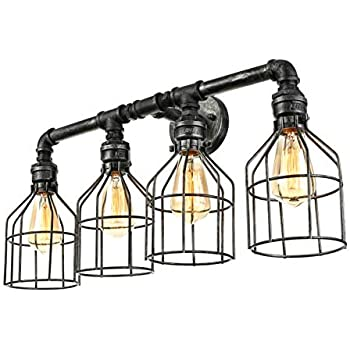 Jinguo Lighting Large Mottled Iron 4 Lights Pipe Wall Lamp Wall Sconce Lamp Wall Light Fixture With Wire Guard In Industrial Style For Kitchen