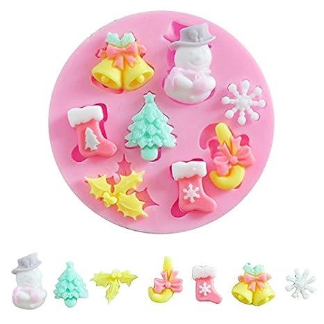 JUNGEN® Molde de Silicona de Navidad para Pastel Molde de Fondant para Hornear Decoracion Tartas Pasteles DIY jabón moldes: Amazon.es: Hogar