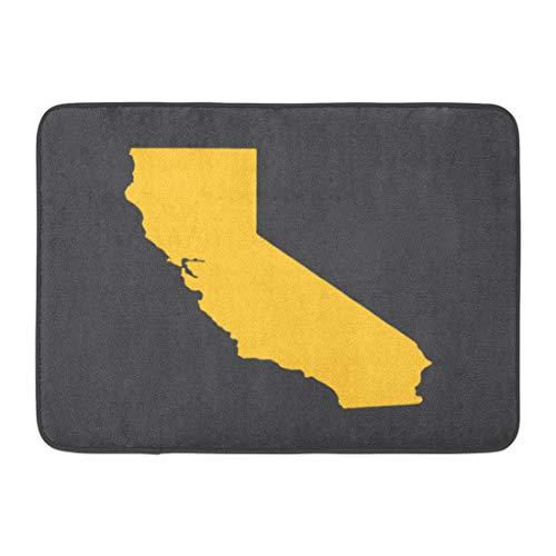 Emvency Doormats Bath Rugs Outdoor/Indoor Door Mat Los California Yellow State Border Map Angeles Color Jose Fresno Bathroom Decor Rug 16