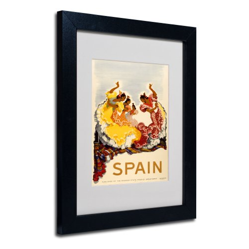 Spain-Women Dancing Canvas Art, 11 by 14-Inch, Black Frame by Trademark Fine Art