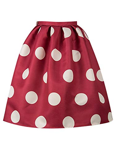 PERSUN Women Red Polka Dot Mid Waist Mid Calf Skater Skirt Medium