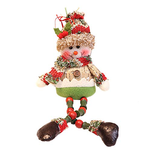 Nadition Christmas Tree Ornaments  2018 New Wool Beaded Dolls Christmas Decorations Santa Claus Hanging Snowman Doll 15.7 Inch