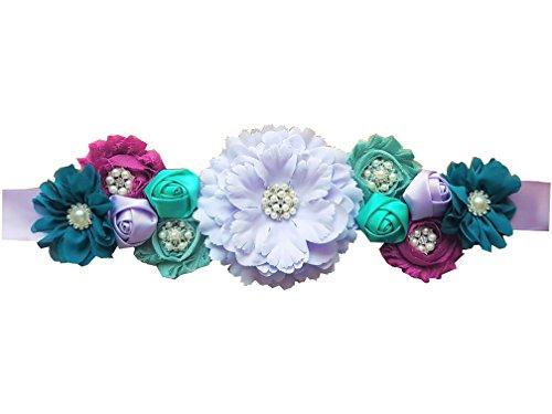 Baby Shower Maternity Wedding Bridal Sash Belt Floral Satin Sash with Shabby Chiffon Flowers and Rhinestones (Mermaid) -