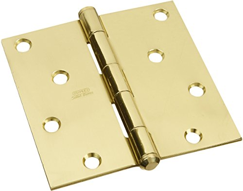 Solid Brass Hinge Square Corners - Stanley Hardware S800-115 749 Solid Brass Square Corner Residential Hinge in Brass , 4