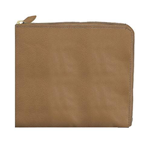 - Shop LC Delivering Joy Taupe Genuine Pebbled Leather Zipper Pouch 11x8.75