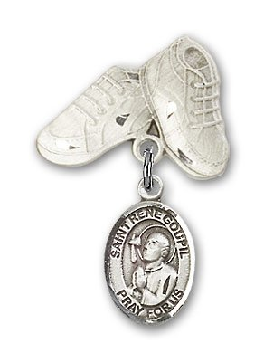 Rene Jewel (ReligiousObsession's Sterling Silver Baby Badge with St. Rene Goupil Charm and Baby Boots Pin)