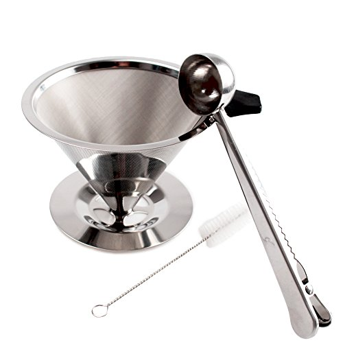 Stainless Steel Coffee Filter, Reusable Pour Over Coffee Dripper with cup stand and scooping spoon plus cleaning brush.