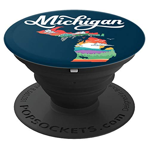 Michigan Outside Vintage Nature Illustration Graphic  PopSockets Grip and Stand for Phones and Tablets