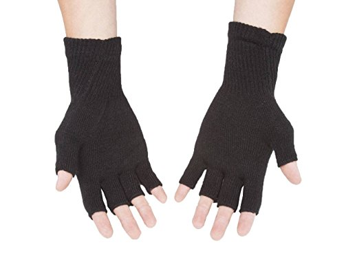 Gravity Threads Unisex Warm Half Finger Stretchy Knit Gloves, Black