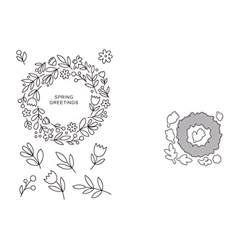 (The Wreath DIY Cutting Dies Stencil + Clear Rubber Stamps For Scrapbooking Embossing Paper Card Decor (Cutting Dies + Clear Stamp)