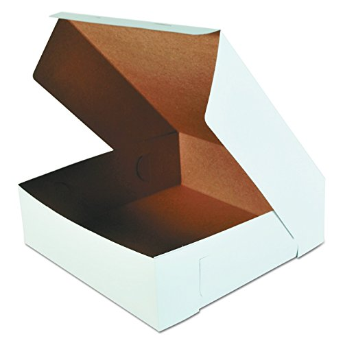 """Southern Champion Tray 0995 Premium Clay Coated Kraft Paperboard White Non-Window Lock Corner Bakery Box, 16"""" Length x 16"""" Width x 5"""" Height (Case of 50)"""