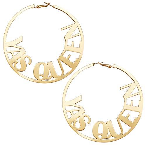 RechicGu Paparazzi Big YAS QUEEN Word Gold Hoop Earrings Diva Funny Runway Baroque Size 8cm ()