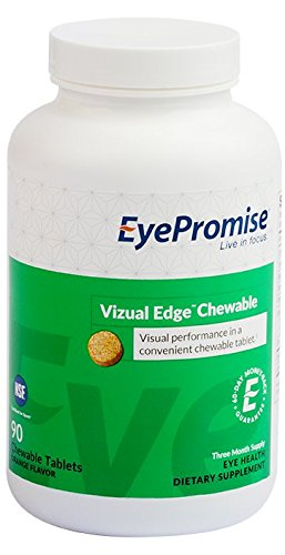 EyePromise vizual Edge Chewable - 3 Month Supply | Orange Flavored Performance Eye Vitamin with Zeaxanthin, Lutein & Vitamin D (Save 22%)