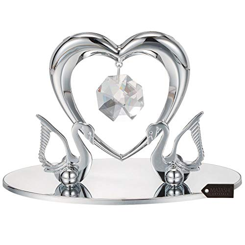 (Matashi Chrome Plated Loving Swans with Heart Figurine Table-Top Ornament   Best Love Gifts for her on Valentine's Day, Mother's Day, Anniversary, Christmas,)