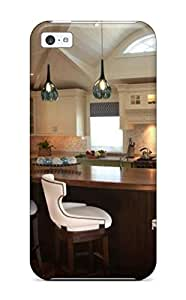 For Iphone 5c pc Phone Case Cover(eat-in Kitchen With Bright Green Cabinets)