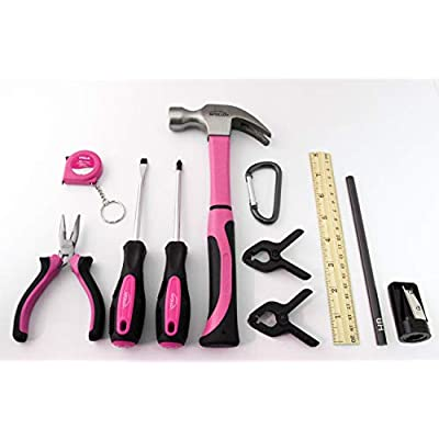 Pink APOLLO TOOLS 14 Piece My First Tool Kit Educational Tool Set with Pink Tool Bag, Real Pink Tools – DT4936P