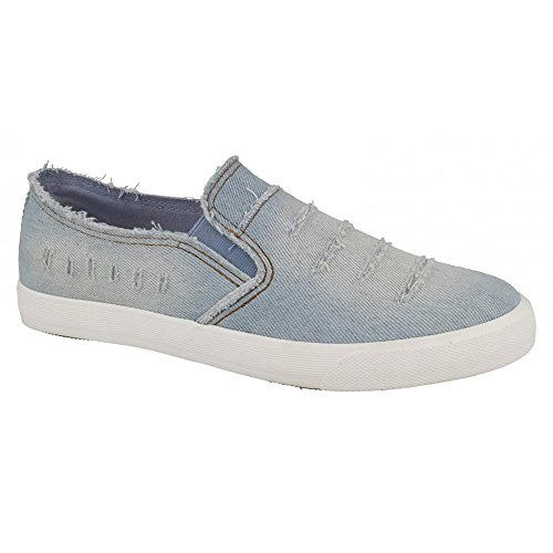 Spot On Womens/Ladies Distressed Denim Slip On Shoes Dark Blue G7PlvP2uJ