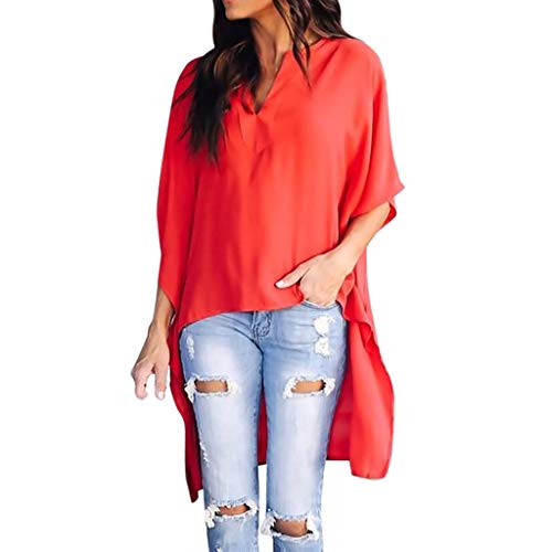 - FORUU Blouses for Womens, V Neck Irregular Short Sleeve Solid T Shirts Tops Tees 2019 Ladies Trendy Under 10 Dollars Best Gift for Wife Summer Yoga Sport Beach Party Holiday Home