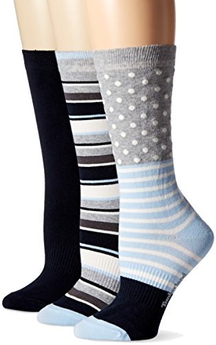 Timberland Womens Dot and Stripe Crew Sock 3-Pack Assorted