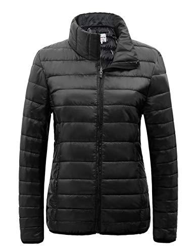 Black Travel Jacket (SUNDAY ROSE Packable Puffer Jacket Women Slim Fit Lightweight Quilted Jacket Color Black - Size XL)