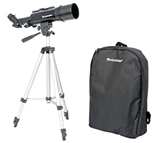 Celestron Travel Scope 60 - Telescopio portable con ampliación de 18x, longitud focal 36 cm, color negro, abertura de 60 mm