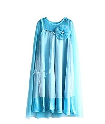 Pelifashion Child Girls Fancy One-piece Dress Cosplay, blue 6X