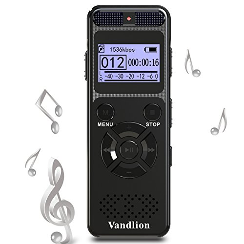 Voice Recorder Vandlion 8GB Digital Audio Sound Recorder Dictaphone for Lectures,Voice Activated Recorder with MP3 Player,Double Microphone by Vandlion
