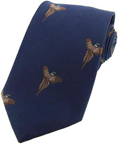 Navy Flying Pheasants Woven Country Silk Tie by David Van Hagen