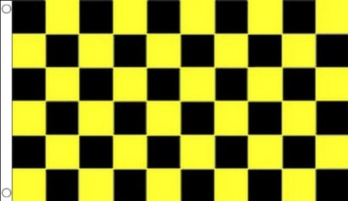 BLACK AND YELLOW CHECK FLAG 3' x 5' - CHECKERED RACING FLAGS