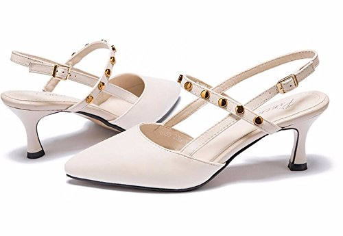 Tacon Verano Primavera Zapatos De Fino De Remaches GTVERNH Tacon Cm Sandalias Baotou Puntiaguda 6 Alto Hueco Zapatos Cabeza Solo Y Beige Mujer FdKX0