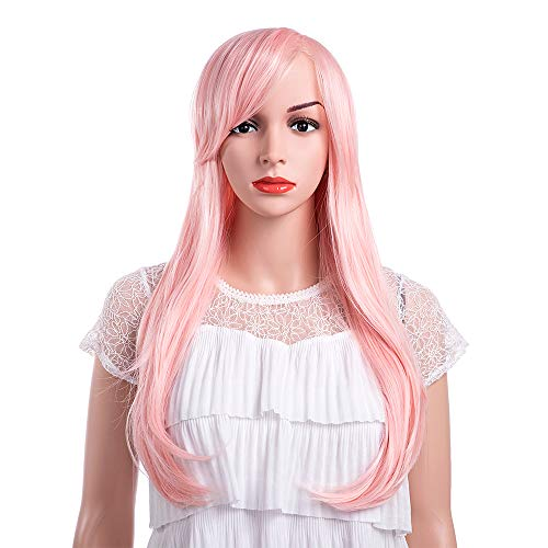 MelodySusie Orange Pink Long Straight Wig for Women with Inclined Bangs Synthetic Hair Wigs Heat Resistance Cosplay Daily Party Wig with Free Wig Cap, Orange Pink -
