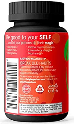 Premium Biotin For Hair Growth, Hair, Skin And Nails Vitamins For Women - Hydrolyzed Collagen, Hydrolyzed Keratin & Bamboo Stem Extract | Natural, Non-GMO | 60 Capsules | Ladybug Potions Hello Beauty