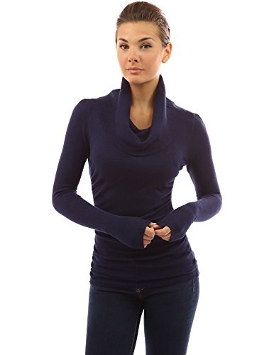 (PattyBoutik Women's Cowl Neck Ruched Sides Sweater (Navy Blue S))