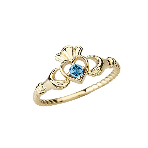 (Dainty 10k Yellow Gold Open Heart Solitaire Blue Topaz Rope Claddagh Promise Ring (Size 6.5))
