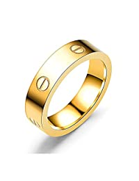 Dubeauty Love Ring Lifetime Titanium Stainless Steel Couples Wedding Engagement Anniversary Engraved Bands Gold Size 5-10